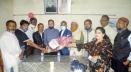 শেরপুর প্রেসক্লাবে সাংবাদিকদের সাথে মতবিনিময় করেন বিএফইউজের সভাপতি বুলবুল